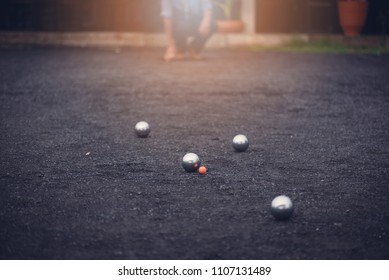 Playing petanque outdoor