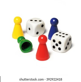 Playing pieces and dice, isolated on White