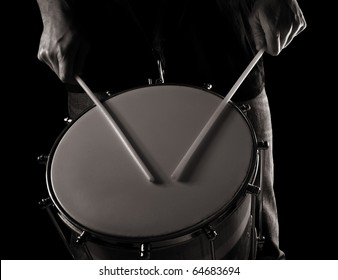 playing repinique (rep, repique, two-headed Brazilian drum) , toned monochrome image