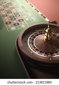 Playing roulette in the casino. Blur and glow effect added to the image.