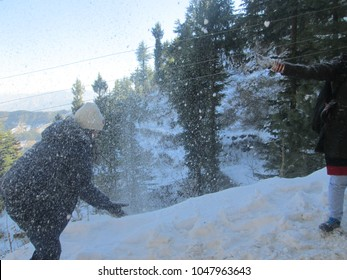 Playing with Snow in Kufri