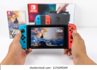 Playing Zelda breath of the wild in Nintendo Switch, Bogota, Colombia, May, 2018