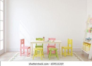 Playroom with kid's table and chairs. Interior mock up. 3d render.
