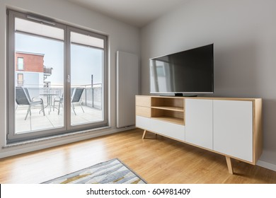Playroom in modern apartment with exit to the terrace