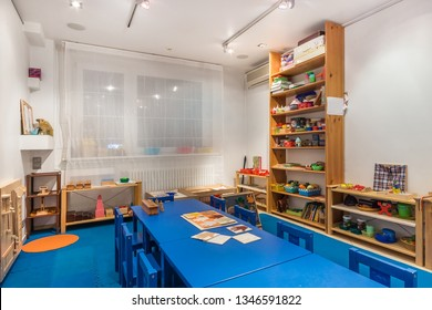 Playroom with a lot of object on table. Art room for education children's creativity. Preschool class waiting kids.