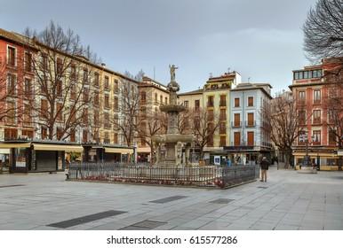 Plaza Bib Rambla with Gigantones Fountain, Granada, Spain