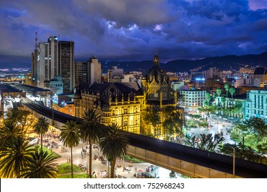 Plaza Botero square and Downtown Medellin at dusk in Medellin, Colombia.