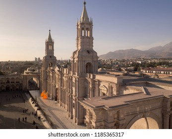Plaza de armas and cathedral in Arequipa, Peru