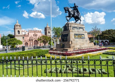 The Plaza de Armas with the cathedral in the background in Ayacucho, Peru