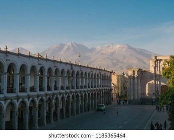 Plaza de armas and Chachani volcano in Arequipa, Peru