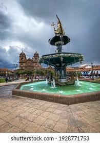 Plaza de Armas in Cusco, Peru with fountain of Inca King Pachacutec.