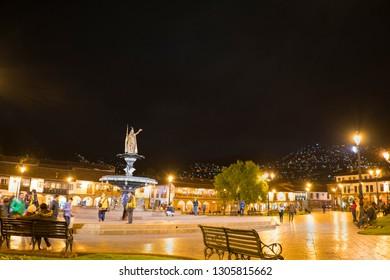 Plaza de Armas, Cusco/Peru - January 20, 2019: People are gathering and enjoying magnificent night at the square named Plaza de Armas at Cusco, Peru