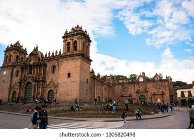 Plaza de Armas, Cusco/Peru - January 20, 2019: People are gathering and feeling the ancient Inca civilization at the square named Plaza de Armas at Cusco, Peru