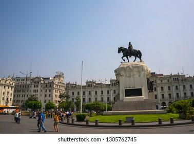 Plaza de Armas, Lima/Peru- January 19, 2019: Tourists are visiting the popular square named Plaza de Armas, Lima, Peru