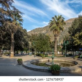 Plaza de Armas Square in San Jose de Maipo town at Cajon del Maipo - Chile