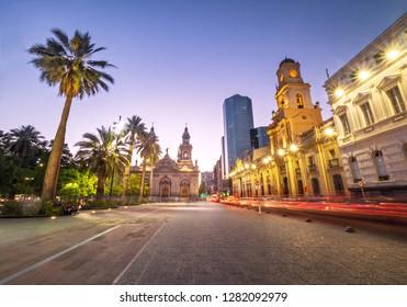 Plaza de Armas Square and Santiago Metropolitan Cathedral at night - Santiago, Chile