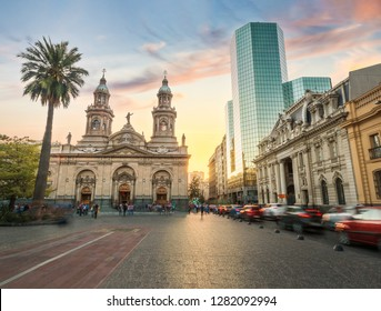 Plaza de Armas Square and Santiago Metropolitan Cathedral at sunset - Santiago, Chile