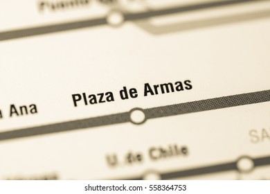 Plaza de Armas Station. Santiago Metro map.