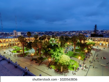 Plaza de Armas at twilight, elevated view, Arequipa, Peru