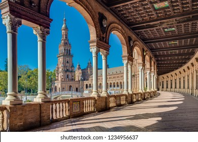 Plaza de Espana is an architectural ensemble located in the Maria Luisa Park in Seville, Spain. It was built as the main building of the Ibero-American Exposition of 1929.