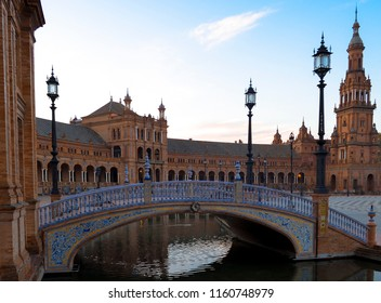 Plaza de Espana Bridge in Spain, early morning without people.