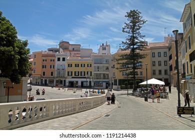 Plaza de Espana, Mahon, Menorca, Spain - 20 June, 2011.