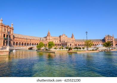 Plaza de Espana or main city square in Seville, Spain. Taken on 05/04/2017