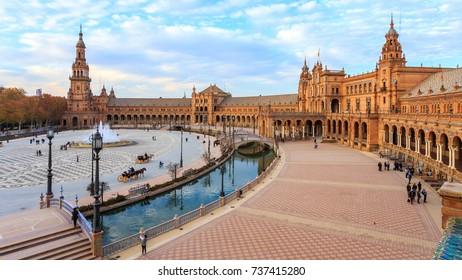Plaza De Espana in Sevilla. Andalusia, Spain