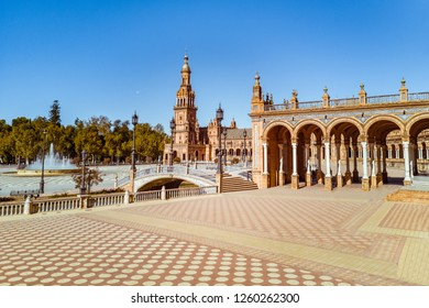 Plaza de Espana in Seville, Spain, built in 1928 for the Ibero American Exposition of 1929.