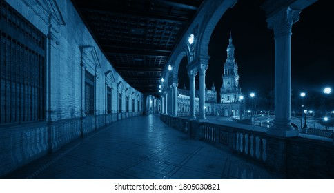 Plaza de Espana or Spain Square closeup view at night in Seville, Spain