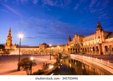 Plaza de Espana (Spain square) at night in Seville, Andalusia