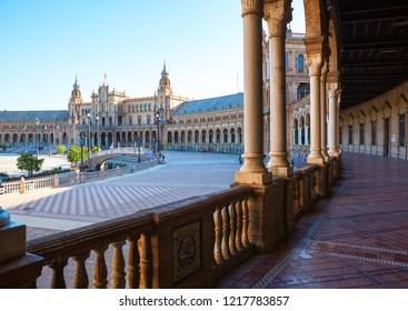 Plaza de Espana in  sunny  morning, Sevilla, Andalusia, Spain.