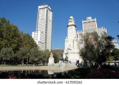 Plaza de Espania in Madrid.Monument to the great Spanish writer Cervantes.