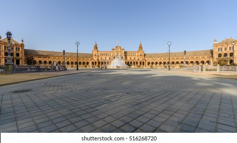The Plaza de Espania is a Square located in the Park in Seville Built in 1928 for the Ibero-American Exposition of 1929. It is a landmark example of the Renaissance Revival style