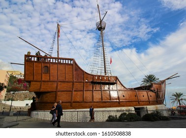 Plaza de la Alameda, Santa Cruz de la Palma, Canary Islands - December 15th 2019: A replica of Christopher Columbus's ship Santa Maria, that houses the Barco de la Virgen naval museum in La Palma.