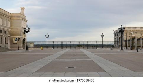 Plaza de la Armeria of Madrid, Spain, in the morning