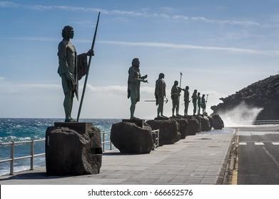 Plaza de la Patrona de Canarias with Guanches statues. Candelaria, Tenerife island, Spain.
