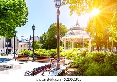 Plaza de la Republica in Valdivia during sunny day, Chile