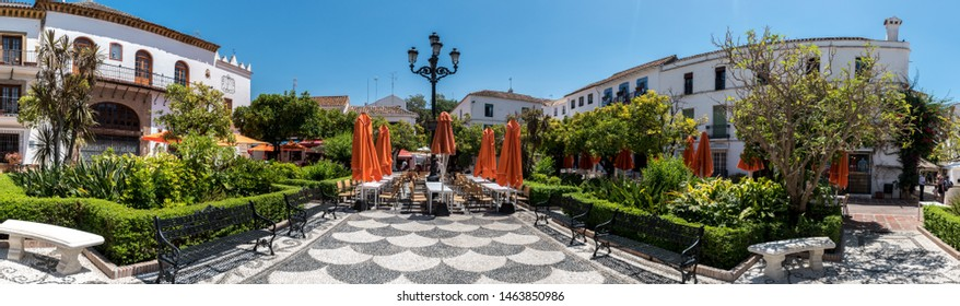 Plaza de los Naranjos (Plaza of the Oranges) located in Marbella, Spain is plaza established in 1485 with restaurants, shops and a fountain surrounded by orange trees.