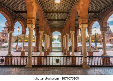 The Plaza de España in Seville at sunset on a fantastic autumn day.