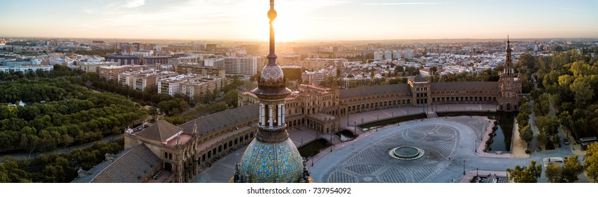 Plaza de España at Sunrise.  Aerial drone panorama photo of the famous Plaza de España in Seville (Sevilla), Spain.