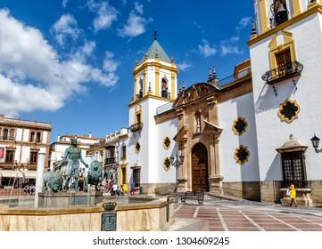The Plaza del Socorro, a pretty little square surrounded by bars and restaurants terraces in Ronda, Province of Malaga, Spain