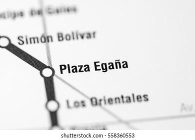 Plaza Egana Station. Santiago Metro map.