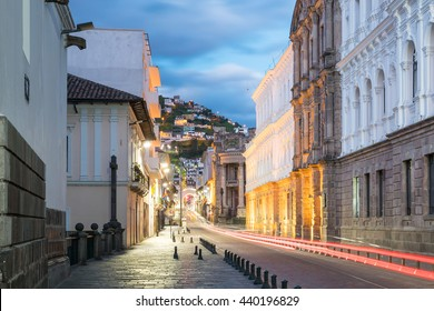 Plaza Grande in old town Quito, Ecaudor at night
