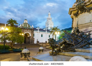 Plaza Grande in old town Quito, Ecaudor at night