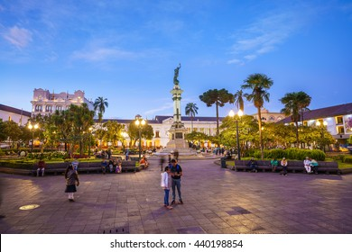 Plaza Grande in old town Quito, Ecuador at night