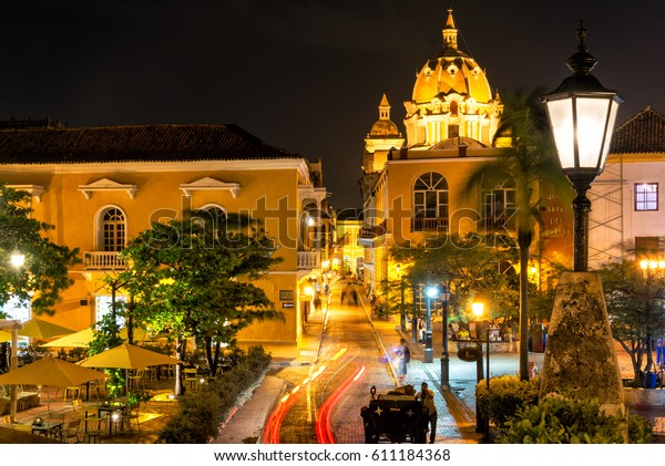 Plaza in the historic center of Cartagena, Colombia taken at night time