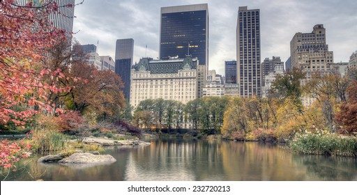 Plaza hotel early in the morning in autumn