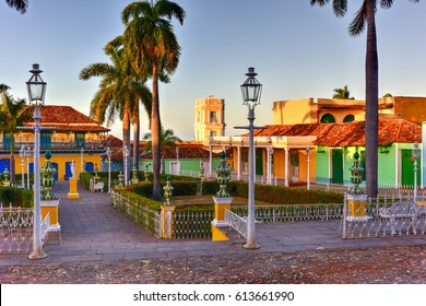Plaza Mayor in the center of Trinidad, Cuba, a UNESCO world heritage site.