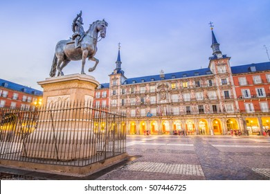 The Plaza Mayor of Madrid, Spain, is the central historic square of the city.
